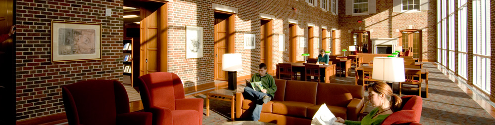 Photo of students studying in the library reading room