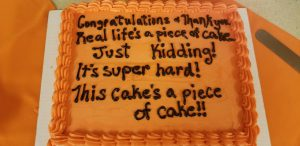 Photo of cake with writing