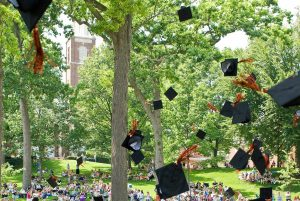 Photo of caps thrown in the air at graduation