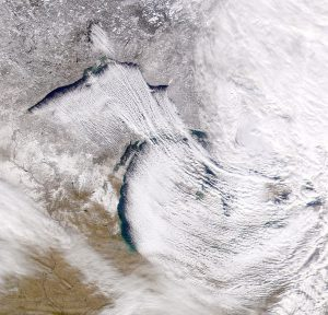 Satellite image of lake effect snow over Michigan