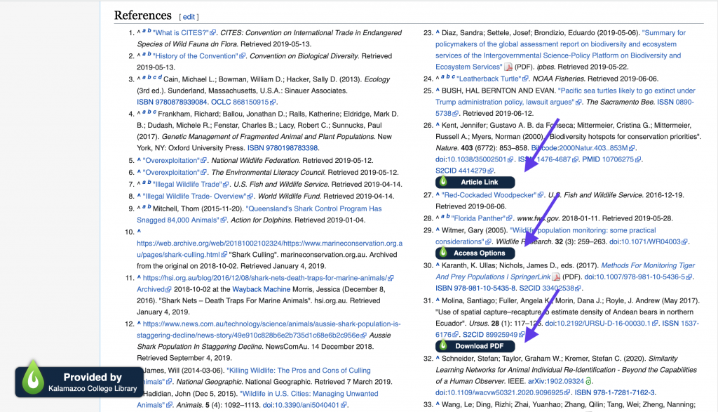 LibKey Nomad extension links within Wikipedia reference section.